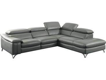 Canapé dangle relax électrique design avec méridienne droite en cuir véritable et pvc coloris gris