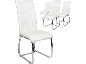 Lot de 4 chaises de table pvc blanc