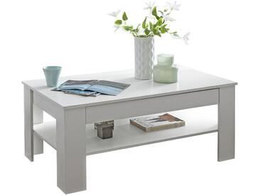Table basse blanc design avec 1 tiroir et niche de rangement en panneaux de particules mélaminés de haute qualité 110 cm x 65 cm collection C-Maartens