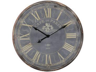 SOLDES - Horloge murale 60 cm design vintage à chiffres romains en MDF coloris anthracite collection C-Rosmari