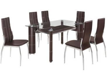 Table à manger en verre + 6 chaises pvc brun