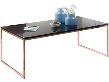 Table dappoint design plateau en bois mdf laqué brillant noir et structure en acier coloris rose gold L. 120 x P. 60 x H. 45 cm collection C-Jesper