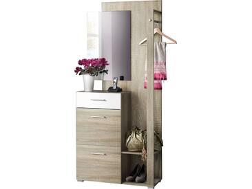 SOLDES - Ensemble vestiaire pour hall dentrée avec 1 barre de suspension métallique + miroir et meuble à chaussures coloris chêne et blanc