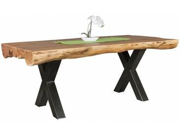 Table à manger 200 cm en bois dacacia massif avec piétement en métal noir collection C-Lado
