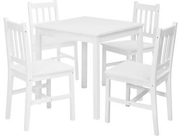 Ensemble 5 pièces table + 4 chaises en bois pin massif coloris blanc L. 70 x P. 73 x H. 73 cm collection C-Isabelle