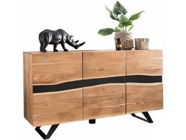 Buffet contemporain 148 cm à 3 portes en bois massif dacacia collection C-Bayalo