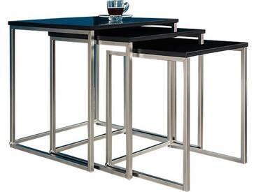 SOLDES - Lot de 3 tables dappoint avec un plateau noir en MDF et un piétement en acier inoxydable
