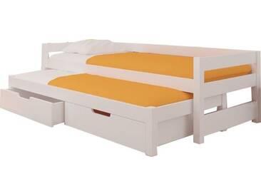 SOLDES - Lit gigogne enfant 90x200 cm en pin et MDF coloris blanc avec 2 tiroirs de rangement