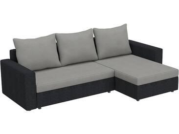 SOLDES - Canapé dangle convertible 3 places en tissu gris et noir avec coffre méridienne réversible