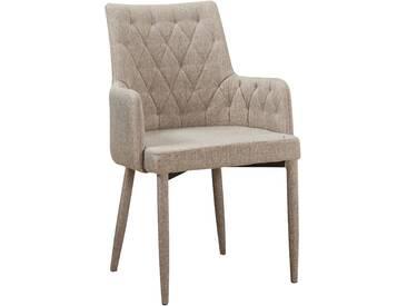 Chaise en tissus design capitonné avec accoudoirs coloris beige