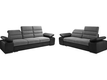 Ensemble canapé 3+2 design en tissu gris et pvc noir