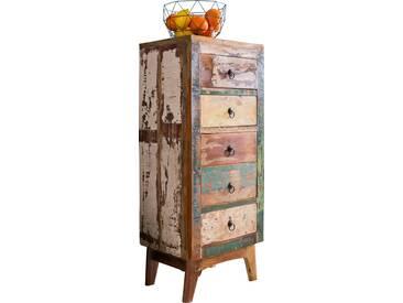 Commode 5 tiroirs coloris marron et multicouleur vintage en bois massif recyclé collection C-Yuuka L. 45 x P. 35 x H. 110 cm