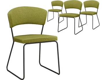 Lot de 4 chaises design minimaliste en tissus coloris vert olive