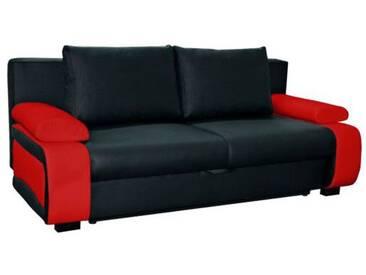 SOLDES - Canapé convertible design à 2 places en pvc noir et  rouge avec coffre de rangement
