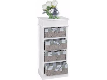 Commode contemporaine en bois de Paulownia blanc avec 4 paniers coloris gris collection C-Chakir
