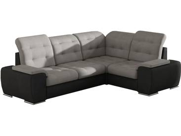 Canapé dangle droit convertible 4 places en tissu gris et pvc noir