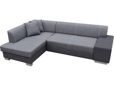 Canapé dangle convertible 4 places en tissu gris avec coffre méridienne côté gauche