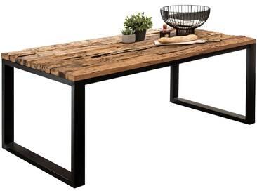 Table de salle à manger en bois massif structure en métal Style industriel Rectangulaire 180x90x76 cm collection C-Khasucha