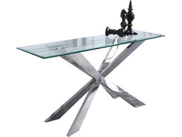 Console ultra design avec piètement croisé en acier inoxydable poli et plateau en verre trempé securit 12 mm L. 160 x P. 45 x H. 85 cm collection C-Klatzer