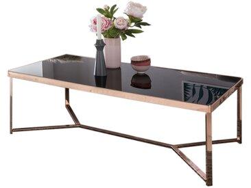Table basse en verre coloris noir avec piétement en métal cuivré collection C-Okagbue