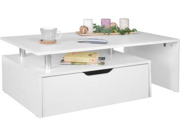 SOLDES - Table basse design en MDF avec tiroir et niche de rangement coloris blanc 100 x 36 x 60 cm collection C-Viggo