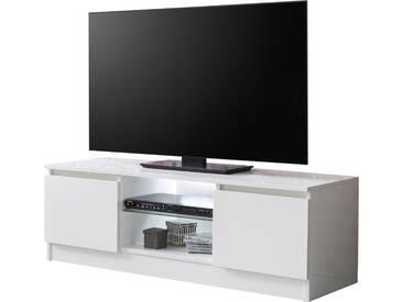 Meuble tv blanc design avec éclairage LED inclus en bois mdf blanc laqué brillant et étagère en verre trempé sécurit  L. 120 x P. 39 x H. 40 cm collection C-Miroslav