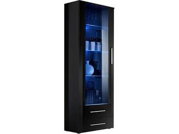 SOLDES - Vitrine à poser moderne 190 cm à 1 porte vitrée avec éclairage LED et 2 tiroirs en panneaux de particules coloris noir brillant