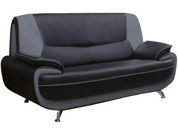 Canapé 2 places design en pvc gris foncé et noir Nino