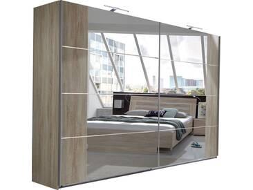 SOLDES - Armoire 270x210 cm à 2 portes-miroirs coulissantes coloris chêne clair