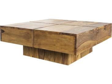 SOLDES - Table basse 80 cm en bois de sheesham massif coloris naturel