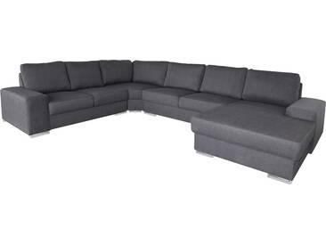 Canapé dangle contemporain en tissu coloris gris clair avec méridienne côté gauche