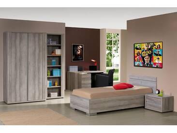 SOLDES - Ensemble chambre à coucher contemporaine avec lit 90x200 cm et armoire 2P coloris mara