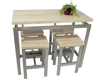 Ensemble de table de bar avec ses 4 tabourets en MDF et métal coloris beige et gris
