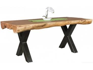 Table à manger 180 cm en bois dacacia massif avec piétement en métal noir collection C-Lado