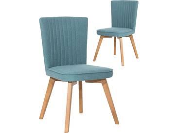 SOLDES - Lot de 2 chaises scandinaves en tissu bleu pétrol et piétement bois