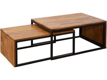 Ensemble de 2 Tables basses design marron rustique en bois massif sheesham et structure en acier  L. 55-48 x P. 80-76 x H. 36-30 cm collection C-de Leede