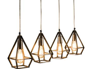 SOLDES - Lampe Suspension design 4x gouttes en métal bronze vintage