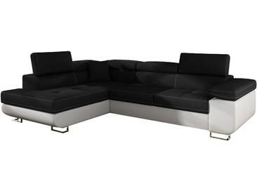 Canapé dangle convertible 4 places en tissu noir et pvc blanc avec coffre méridienne  côté gauche