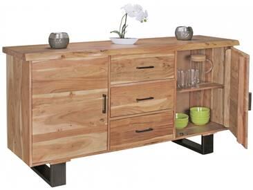 Buffet contemporain 160 cm à 2 portes et 3 tiroirs en bois massif dacacia collection C-Simdi