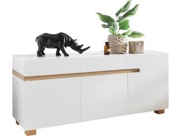 Buffet 160 cm à 3 portes et 2 tiroirs en MDF avec piétement scandinave en chêne coloris blanc collection C-Doryolo