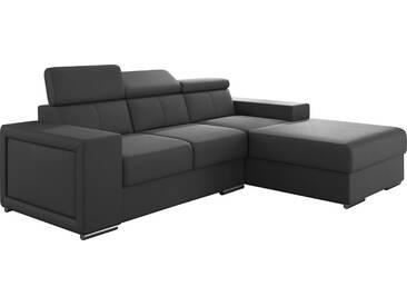 Canapé dangle moderne en pvc coloris gris avec méridienne angle droit