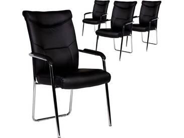 Lot de 4 chaises ultra modernes pvc noir et pieds acier chromé