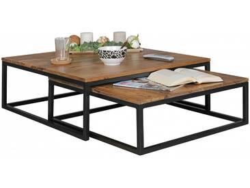 Lot de 2 tables gigognes en bois massif et métal coloris sheesham et noir collection C-Torje