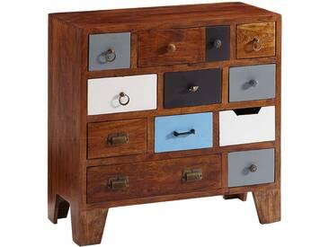 Commode vintage 12 tiroirs en bois massif dacacia  80x80x40 cm collection C-Carine