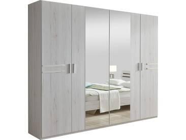 SOLDES - Armoire 225x210 cm à 2 portes + 2 portes-miroirs au centre et déco métallique coloris chêne blanc