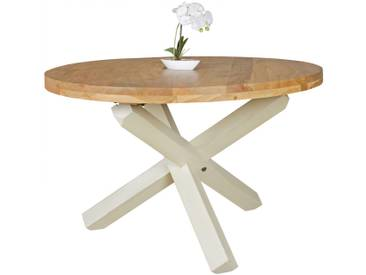 Table à manger ronde 120 cm en bois dacacia massif coloris naturel et blanc collection C-Mares