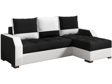 Canapé dangle convertible 3 places en tissu et pvc avec méridienne réversible coloris blanc et noir