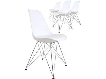 Lot de 4 chaises design coloris blanc avec piétement en acier croisé