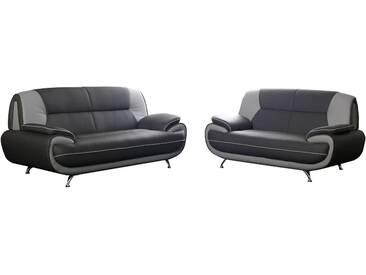 Ensemble de canapé 3+2 design pvc coloris gris foncé et noir Nino