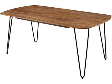 Table de salle à manger contemporaine marron rustique en bois massif sheesham et piètement en acier  L. 120 x P. 60 x H. 76 cm collection C-Jakub